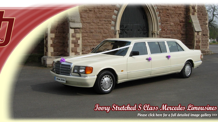 Stretched Ivory Mercedes wedding car for hire